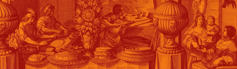 Engraving of several people baking