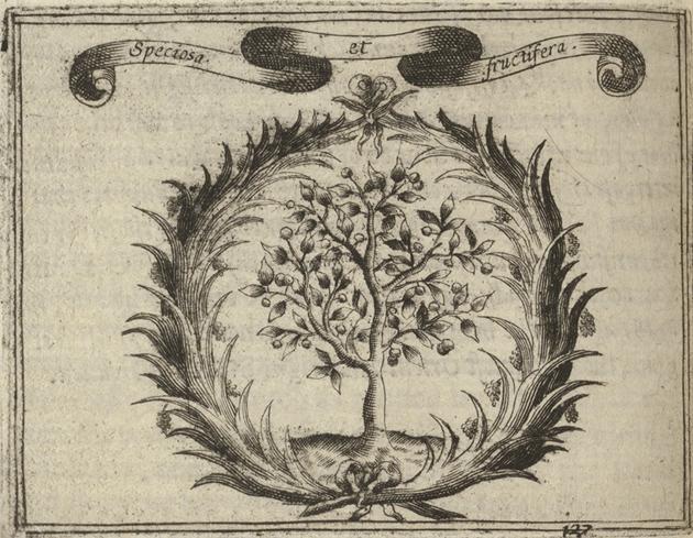 Emblem depicting a fruit tree