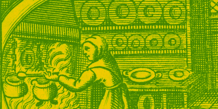 Engraving of person cooking over a fire